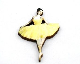 Yellow Ballerina Brooch, Wood Accessory, Dancer Illustration, Ballerina Badge, Wood Jewelry