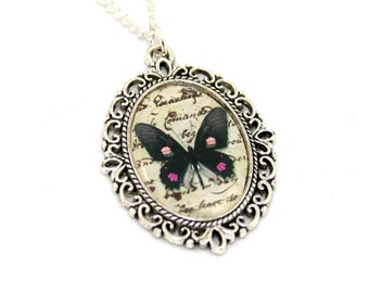 Black Pink Butterfly Necklace, Cameo Necklace, Nature Illustration, Insect Pendant, Woodland, Animal Necklace
