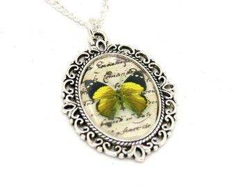 Yellow Butterfly Necklace, Cameo Necklace, Nature Illustration, Insect Pendant, Animal Necklace