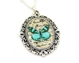Teal Butterfly Necklace, Cameo Necklace, Nature Illustration, Insect Pendant, Animal Necklace