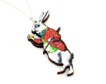 White Rabbit Alice In Wonderland Necklace Tenniel Illustration, Wood Jewelry