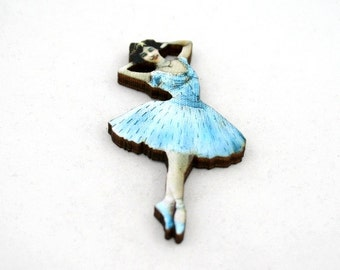 Blue Ballerina Brooch, Wood Accessory, Dancer Illustration, Ballerina Badge, Wood Jewelry