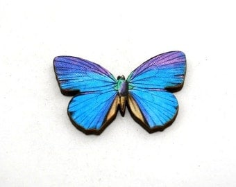 Purple Butterfly Brooch, Wood Accessory, Butterfly Badge, Illustration Jewelry, Blue Butterfly Brooch, Animal Brooch, Woodland, Wood Jewelry