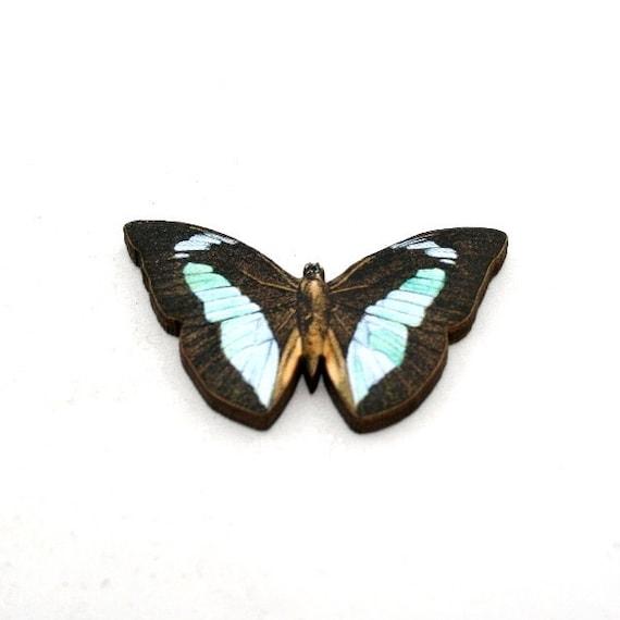 Butterfly Brooch, Wooden Butterfly Accessory, Butterfly Illustration, Butterfly Badge, Animal Brooch, Wood Jewelry