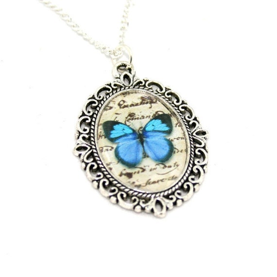 Blue Butterfly Necklace, Cameo Necklace, Nature Illustration, Insect Pendant, Woodland, Animal Necklace