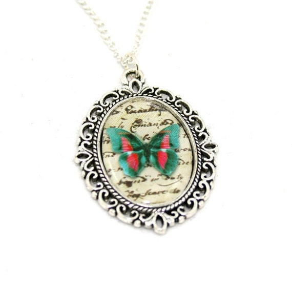 Green Red Butterfly Necklace, Cameo Necklace, Nature Illustration, Insect Pendant, Animal Necklace