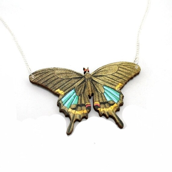 Brown Butterfly Necklace, Wood Pendant, Illustration Jewelry, Woodland, Animal Necklace, Wood Jewelry