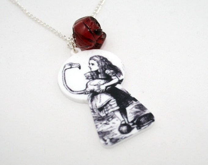 SALE Alice Flamingo Necklace, Tenniel Illustration, Alice In Wonderland