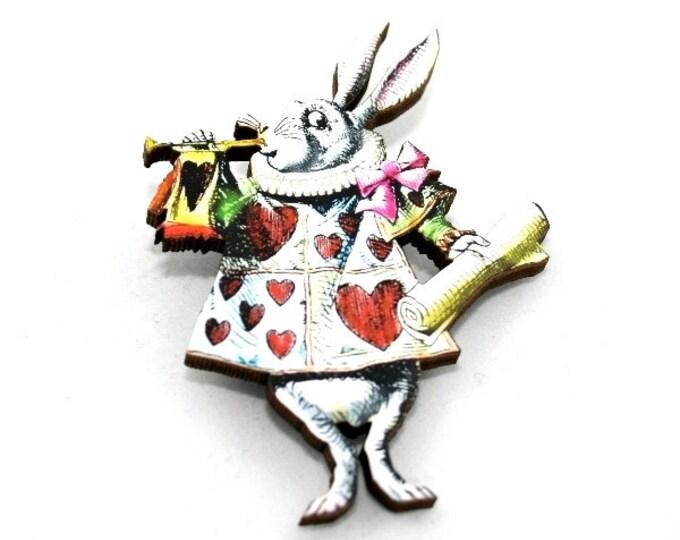 Herald Rabbit Alice In Wonderland Brooch Tenniel Illustration, Wood Jewelry