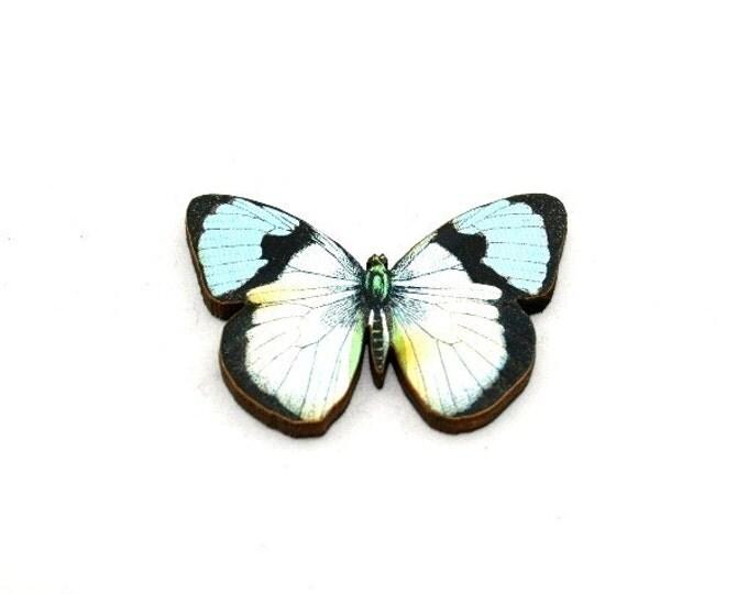 Blue Butterfly Brooch, Wooden Butterfly Accessory, Butterfly Illustration, Butterfly Badge, Animal Brooch, Woodland, Wood Jewelry