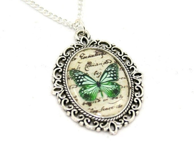 Green Butterfly Necklace, Cameo Necklace, Nature Illustration, Insect Pendant, Woodland, Animal Necklace
