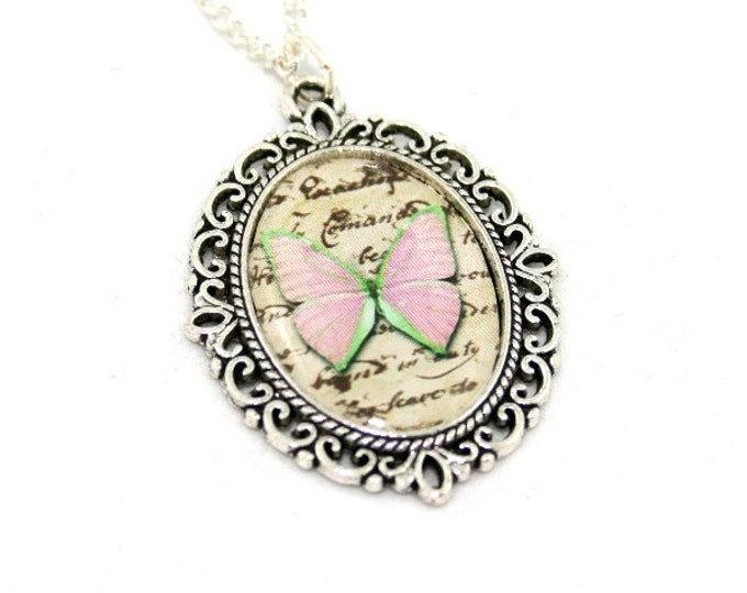 Pink Butterfly Necklace, Cameo Necklace, Nature Illustration, Insect Pendant, Woodland, Animal Necklace