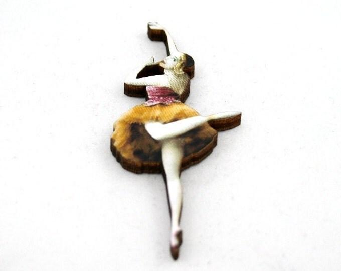 Yellow and Pink Ballerina Brooch, Wood Accessory, Dancer Illustration, Ballerina Badge, Wood Jewelry