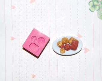 Miniature cookie collection4 Mold/Mould for Resin, Polymer clay & Air dry Clay Big cookie size 1,1 cm x 1,7 cm (Ref. 137)