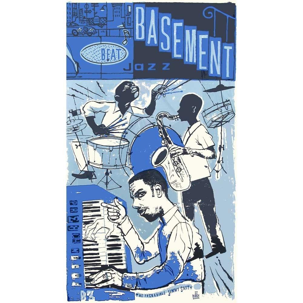 Beat Jazz Basement Jimmy Smith Large Silkscreen Print On Heavy
