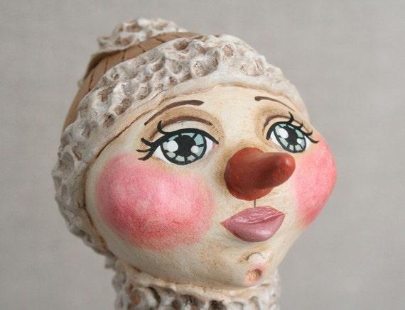 Primitive Paperclay Snowgirl - Original Appalachian Sculpted Folk Art Doll