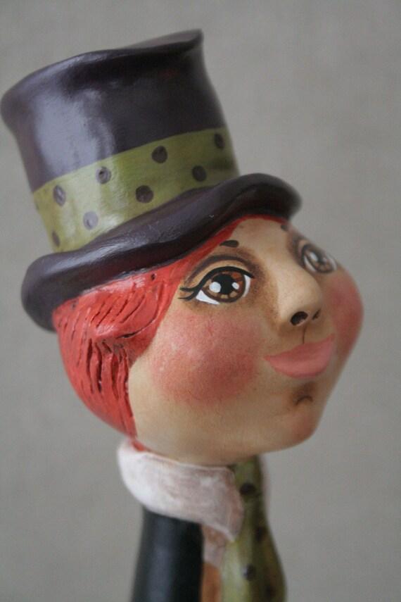 Mad Hatter - Alice in Wonderland - Primitive Folk Art Doll - OOAK