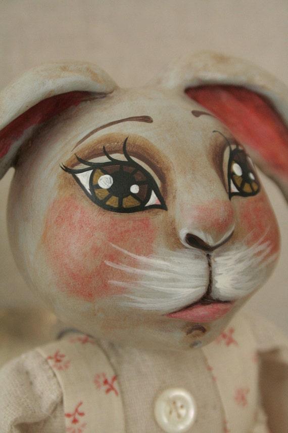 Bunny Rabbit Easter Doll Pink & Gray -- Primitive Folk Art