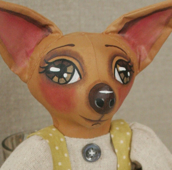 Tan Chihuahua Dog Doll - Primitive Folk Art - Cloth