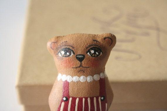 Hand-painted Teddy Bear Doll Brooch Pin - Primitive Appalachian Folk Art