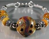 Sterling and Lampwork Caramel Bangle Bracelet