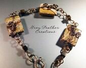 SALE Handmade Bronze and Picture Jasper Swirl Bracelet
