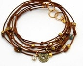 "Leather Wrap Bracelet With Charms Tan ""Cameron II"" Beaded Leather Wrap Bracelet"
