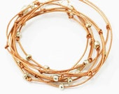 """Leather Wrap Bracelet Copper and Silver Beaded Leather Wrap Bracelet """"Cameron"""""""