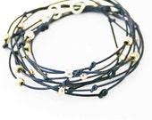 "Beaded Leather Wrap Bracelet Indigo and Silver ""Cameron"" Sundance Jewelry"