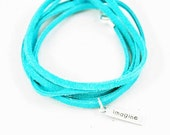 Suede Wrap Bracelet Imagine Charm Turquoise Leather Charm Bracelet Inspirational Charm Bracelet
