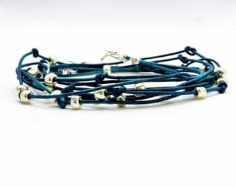 "Leather Wrap Bracelet Turquoise and Silver Beaded Leather Wrap Bracelet ""Cameron"""