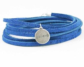 Suede Wrap Bracelet Believe Charm Bright Blue Leather Charm Bracelet Inspirational Charm Bracelet
