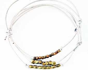 Beaded Leather Bracelets  White  Set of 3  Friendship Bracelets Sundance Jewelry Adjustable