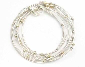 "Beaded Leather Wrap Bracelet Pearl White ""Cameron"" Leather Wrap Bracelet"