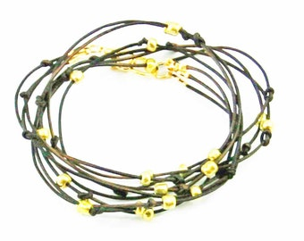 """Leather Wrap Bracelet Brown and Gold Beaded Leather Wrap Bracelet """"Cameron"""" Sundance Jewelry Beaded Leather Bracelet"""
