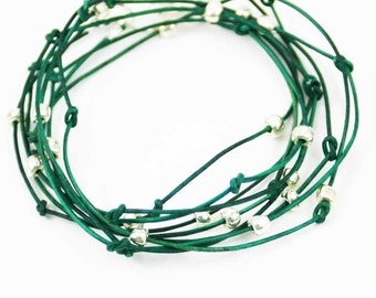 "Leather Wrap Bracelet Forest Green and Sliver ""Cameron"" Triple Wrap Leather Bracelet Sundance Jewelry"