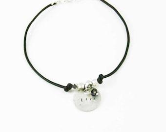 Leather Charm Bracelet, Live, Dark Brown & Silver, Hand Stamped Charm Inspirational Bracelet