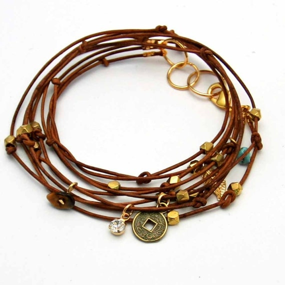 Leather Wrap Charm Bracelet: Leather Wrap Bracelet With Charms Tan Cameron II