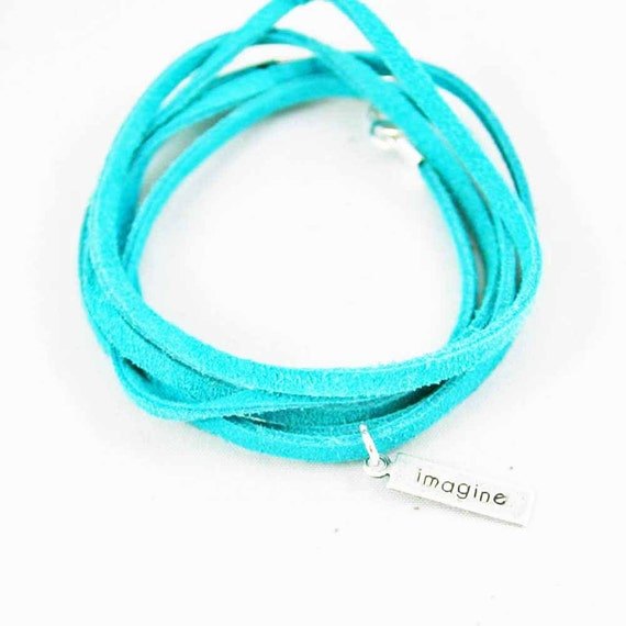 Suede Wrap Bracelet Imagine Charm Turquoise Leather Charm Bracelet Inspirational Charm Bracelet