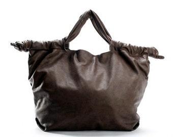 Black Leather Big-Bag,Women leather bag, Brown leather bag congac leather bag,Italian leather