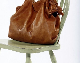 Brown Leather Big-Bag,Women leather bag, congac leather bag,Italian leather