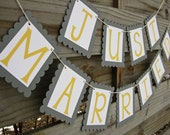 Just Married Banner - Grey and Yellow