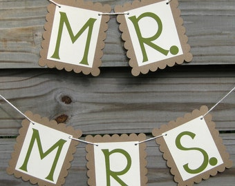 Mr. and Mrs. Chair Signs in Fern Green and Kraft Brown - Wedding Photo Prop
