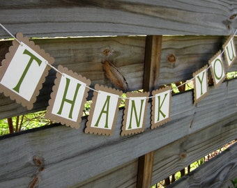 Thank You Banner in Fern and Kraft - rustic wedding photo prop