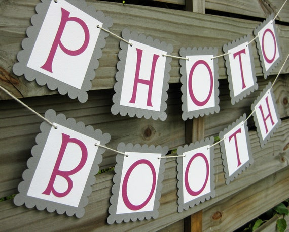 Photo Booth Banner - Grey and Fuschia