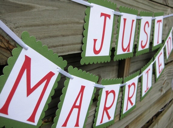 Just Married Banner - Melon and Meadow - SALE