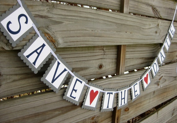 Save the Date Banner in Grey and Navy