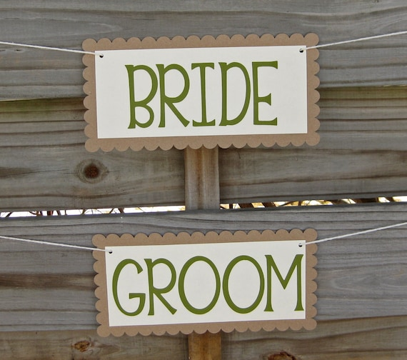 Bride and Groom Chair Signs in Kraft and Fern Green