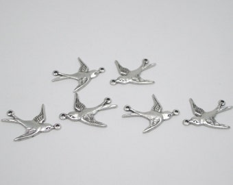 Bird Connectors, silver plated, oxidized, two rings, 6 birds