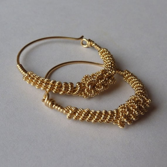 Triple Coiled Gold Hoops